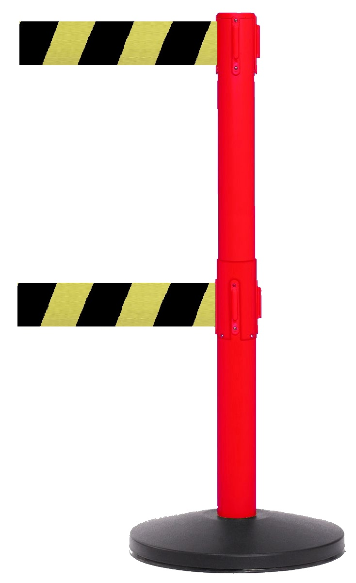High Visability barrier with 11'L Twin Belts