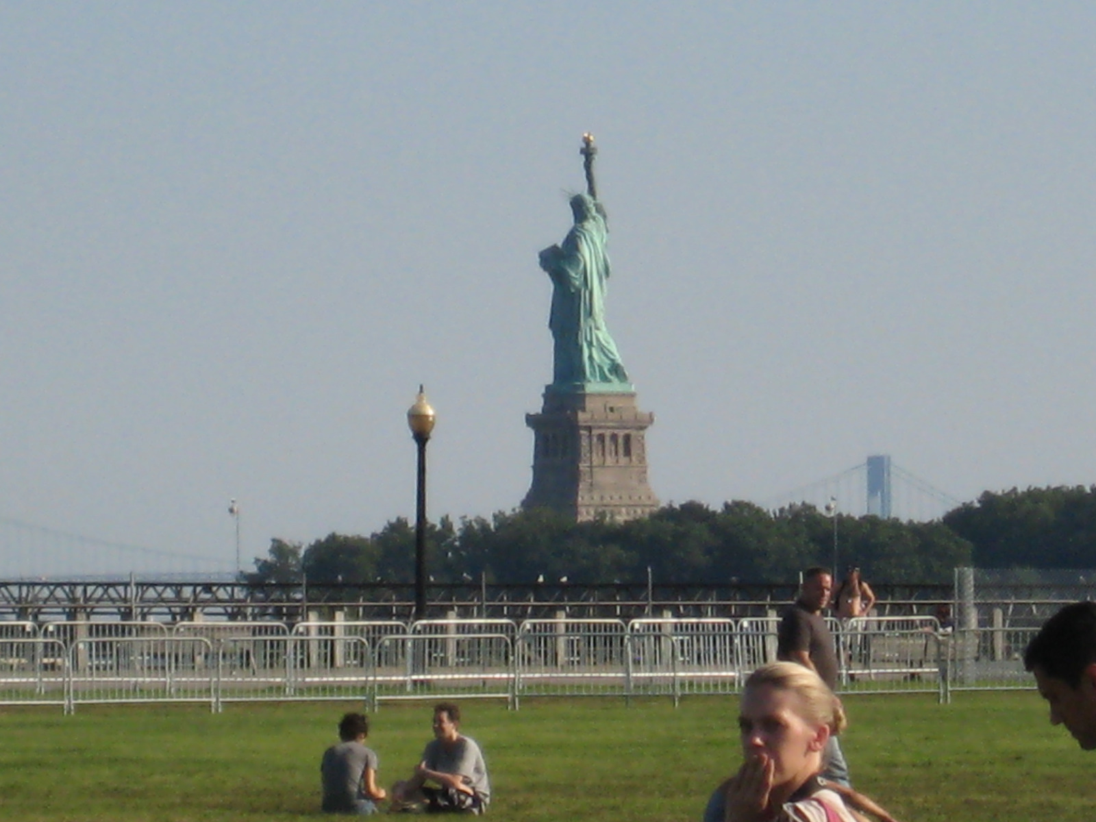SONCO Barricades in New York, With the Statue of Liberty in the Background